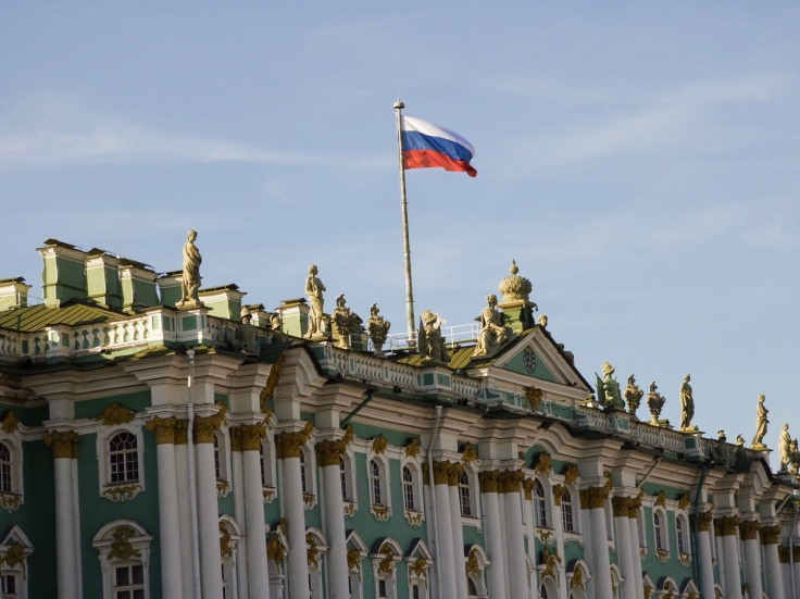 Hermitage Museum Winter Palace St Petersburg Russia flag